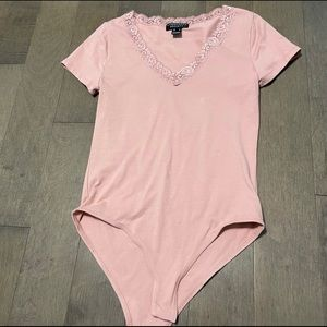 Pink lace detail bodysuit